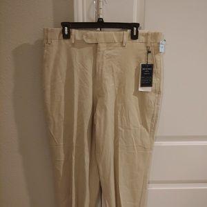 JB Britches beige dress pants flat front 36x30 New